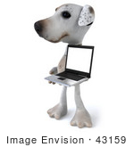 #43159 Royalty-Free (Rf) Clipart Illustration Of A 3d Jack Russell Terrier Dog Mascot With A Laptop - Pose 6