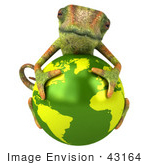 #43164 Royalty-Free (Rf) Clipart Illustration Of A 3d Lizard Chameleon Mascot Resting On Top Of A Globe