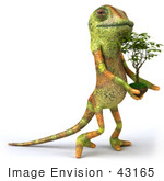#43165 Royalty-Free (Rf) Clipart Illustration Of A 3d Lizard Chameleon Mascot Carrying A Plant
