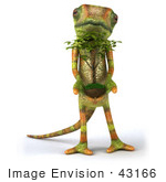 #43166 Royalty-Free (Rf) Clipart Illustration Of A 3d Lizard Chameleon Mascot Facing Front And Holding A Plant