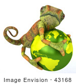 #43168 Royalty-Free (Rf) Clipart Illustration Of A 3d Lizard Chameleon Mascot Hugging A Globe