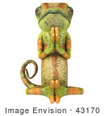 #43170 Royalty-Free (Rf) Clipart Illustration Of A 3d Lizard Chameleon Mascot Meditating - Pose 3