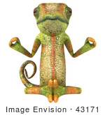 #43171 Royalty-Free (Rf) Clipart Illustration Of A 3d Lizard Chameleon Mascot Meditating - Pose 1