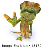 #43172 Royalty-Free (Rf) Clipart Illustration Of A 3d Lizard Chameleon Mascot Looking Up And Waving