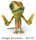 #43173 Royalty-Free (Rf) Clipart Illustration Of A 3d Lizard Chameleon Mascot Giving Two Thumbs Up - Pose 2