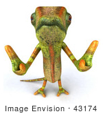 #43174 Royalty-Free (Rf) Clipart Illustration Of A 3d Lizard Chameleon Mascot Giving Two Thumbs Up - Pose 1