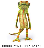 #43175 Royalty-Free (Rf) Clipart Illustration Of A 3d Lizard Chameleon Mascot Standing And Facing Front
