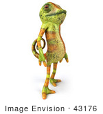 #43176 Royalty-Free (Rf) Clipart Illustration Of A 3d Lizard Chameleon Mascot Standing And Facing Right