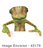 #43179 Royalty-Free (Rf) Clipart Illustration Of A 3d Lizard Chameleon Mascot Pointing Down To And Standing Behind A Blank Sign