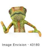 #43180 Royalty-Free (Rf) Clipart Illustration Of A 3d Lizard Chameleon Mascot Giving The Thumbs Up And Standing Behind A Blank Sign