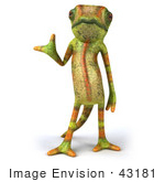 #43181 Royalty-Free (Rf) Clipart Illustration Of A 3d Lizard Chameleon Mascot Presenting Something