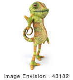 #43182 Royalty-Free (Rf) Clipart Illustration Of A 3d Lizard Chameleon Mascot Flashing A Peace Gesture