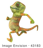 #43183 Royalty-Free (Rf) Clipart Illustration Of A 3d Lizard Chameleon Mascot Running Left