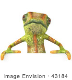 #43184 Royalty-Free (Rf) Clipart Illustration Of A 3d Lizard Chameleon Mascot Standing Behind A Blank Sign