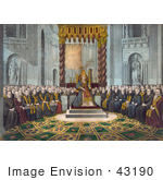 #43190 Rf Illustration Of Pope Pius Ix Sitting On A Throne And Surrounded By Members Of The Clergy Convened On December 8th 1869