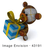 #43191 Royalty-Free (Rf) Illustration Of A 3d Knitted Teddy Bear Mascot Holding A Gift - Pose 4