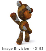 #43193 Royalty-Free (Rf) Illustration Of A 3d Knitted Teddy Bear Mascot Waving