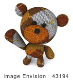 #43194 Royalty-Free (Rf) Illustration Of A 3d Knitted Teddy Bear Mascot Looking Up And Waving