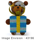 #43196 Royalty-Free (Rf) Illustration Of A 3d Knitted Teddy Bear Mascot Holding A Gift - Pose 1