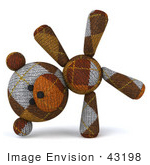 #43198 Royalty-Free (Rf) Illustration Of A 3d Knitted Teddy Bear Mascot Doing A Cartwheel - Version 1