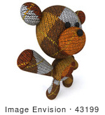 #43199 Royalty-Free (Rf) Illustration Of A 3d Knitted Teddy Bear Mascot Dancing Or Waving