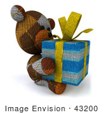 #43200 Royalty-Free (Rf) Illustration Of A 3d Knitted Teddy Bear Mascot Holding A Gift - Pose 5