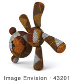 #43201 Royalty-Free (Rf) Illustration Of A 3d Knitted Teddy Bear Mascot Doing A Cartwheel - Version 3