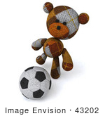 #43202 Royalty-Free (Rf) Illustration Of A 3d Knitted Teddy Bear Mascot Kicking A Soccer Ball - Pose 1