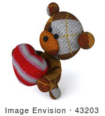 #43203 Royalty-Free (Rf) Illustration Of A 3d Knitted Teddy Bear Mascot Holding A Stuffed Heart - Pose 4