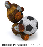 #43204 Royalty-Free (Rf) Clipart Illustration Of A 3d 3d Sock Teddy Bear Character Holding A Soccer Ball - Pose 5