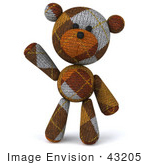 #43205 Royalty-Free (Rf) Illustration Of A 3d Knitted Teddy Bear Mascot Facing Front And Waving