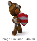 #43206 Royalty-Free (Rf) Illustration Of A 3d Knitted Teddy Bear Mascot Holding A Stuffed Heart - Pose 2