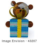 #43207 Royalty-Free (Rf) Illustration Of A 3d Knitted Teddy Bear Mascot Holding A Gift - Pose 3