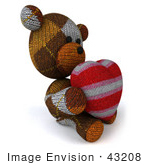 #43208 Royalty-Free (Rf) Illustration Of A 3d Knitted Teddy Bear Mascot Holding A Stuffed Heart - Pose 5