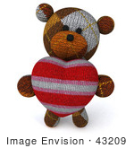 #43209 Royalty-Free (Rf) Illustration Of A 3d Knitted Teddy Bear Mascot Holding A Stuffed Heart - Pose 3
