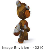 #43210 Royalty-Free (Rf) Illustration Of A 3d Knitted Teddy Bear Mascot Standing And Facing Right