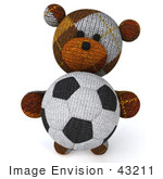 #43211 Royalty-Free (Rf) Clipart Illustration Of A 3d 3d Sock Teddy Bear Character Holding A Soccer Ball - Pose 3