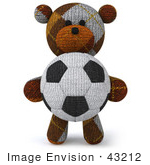 #43212 Royalty-Free (Rf) Clipart Illustration Of A 3d 3d Sock Teddy Bear Character Holding A Soccer Ball - Pose 1
