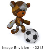 #43213 Royalty-Free (Rf) Illustration Of A 3d Knitted Teddy Bear Mascot Kicking A Soccer Ball - Pose 2