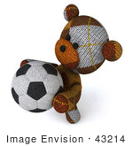 #43214 Royalty-Free (Rf) Clipart Illustration Of A 3d 3d Sock Teddy Bear Character Holding A Soccer Ball - Pose 4