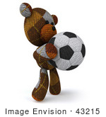 #43215 Royalty-Free (Rf) Clipart Illustration Of A 3d 3d Sock Teddy Bear Character Holding A Soccer Ball - Pose 2