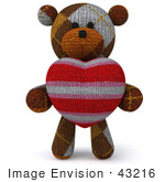 #43216 Royalty-Free (Rf) Illustration Of A 3d Knitted Teddy Bear Mascot Holding A Stuffed Heart - Pose 1