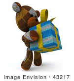 #43217 Royalty-Free (Rf) Illustration Of A 3d Knitted Teddy Bear Mascot Holding A Gift - Pose 2