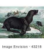 #43218 Rf Illustration Of Sea Lions Ice Bergs And Ships