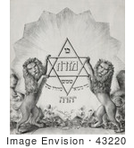 #43220 RF Illustration Of Sepia Toned Lions Holding Magen David With Hebrew Text by JVPD