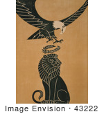#43222 RF Illustration Of A World War I Poster Of A Bald Eagle Dropping A Victory Wreath On A Lion's Head by JVPD