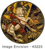 #43223 Rf Illustration Of A Knight On A White Horse Battling A Dragon Under An Austro-Hungarian Banner