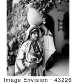 #43226 Rf Photo Of A Black And White Ramallah Woman Carrying A Jug On Her Head