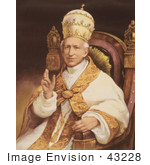 #43228 Rf Illustration Of A Portrait Of Pope Leo Xiii Sitting In A Chair