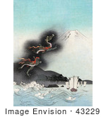 #43229 Rf Illustration Of A Dragon Rising To The Top Of Mt Fuji Causing Strong Waves To Flow Towards Ships